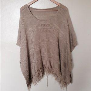 Tan Knit Poncho Sweater, One Size (M/L)